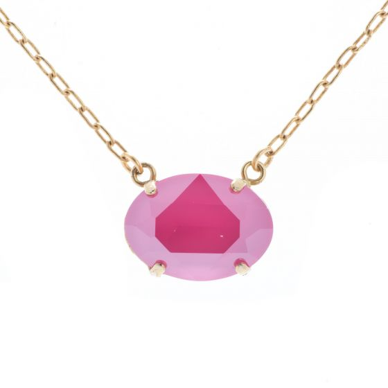 Catherine Popesco Oval Stone Necklace - Peony Pink