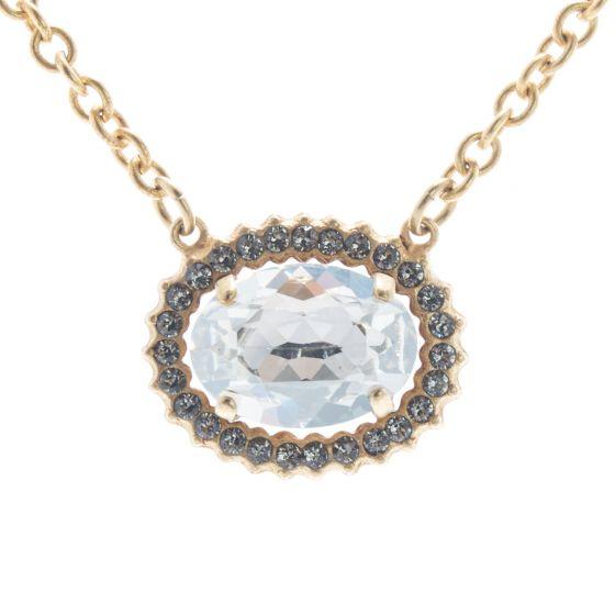 Catherine Popesco Oval Shade Crystal Frame Necklace