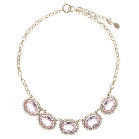 Catherine Popesco The Queen's Jewels Necklace - Vintage Rose & Pearl
