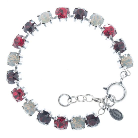 Catherine Popesco Multi Color Crystal Bracelet - Silver Ruby Red Combo