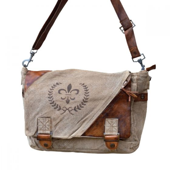 Fleur de Lys Canvas and Leather Purse with Flap by Clea Ray
