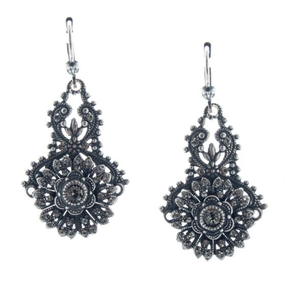Catherine Popesco Lovely Silver Floral Black Diamond Crystal Earrings
