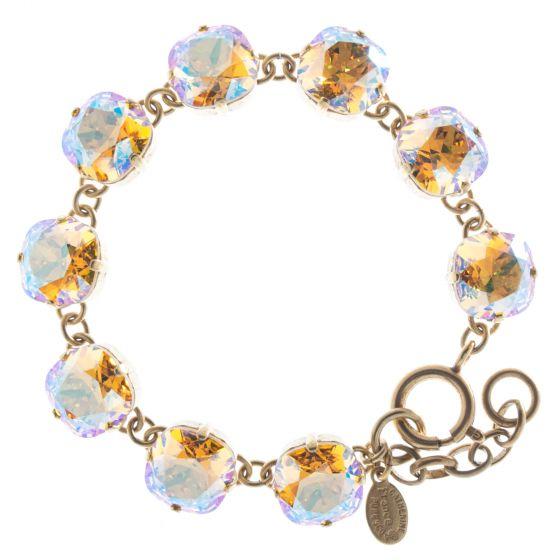 New Color! Catherine Popesco 12mm Large Stone Crystal Bracelet - Light Topaz Shimmer