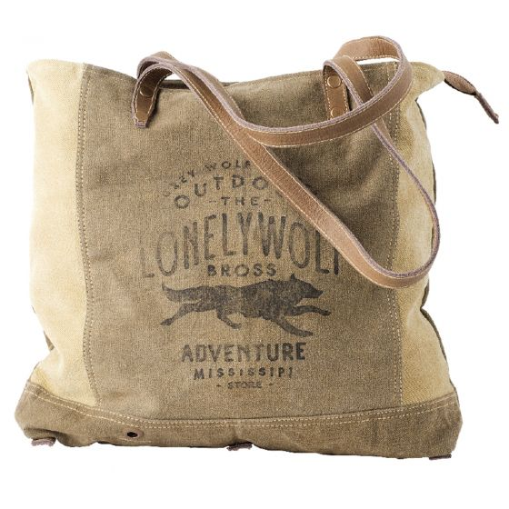 Lonely Wolf Adventure Re-purposed Canvas Tote Bag by Clea Ray