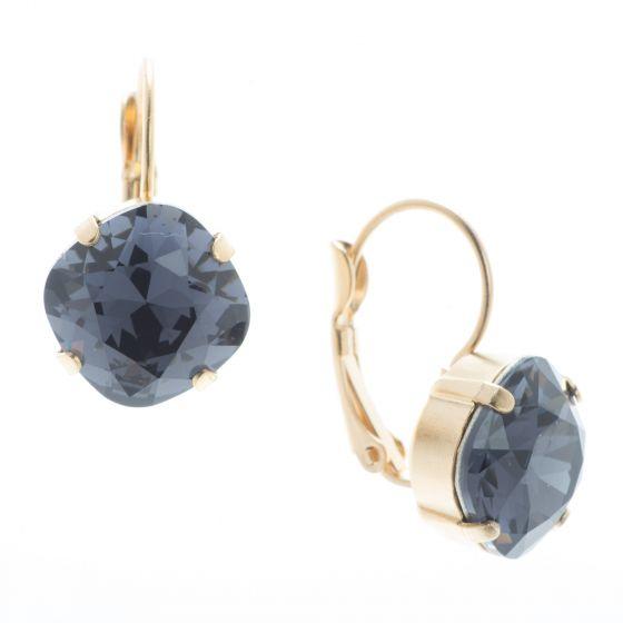 Lisa Marie Jewelry 12mm Square Swarovski Crystal Earrings - Graphite