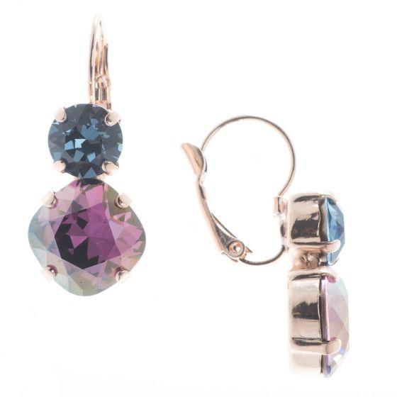 Lisa Marie Jewelry Two Stone Swarovski Crystal Earrings - Lilac Shadow