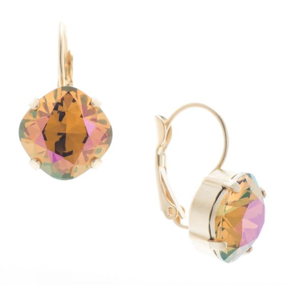 Lisa Marie Jewelry 12mm Square Swarovski Crystal Earrings - Topaz Shimmer