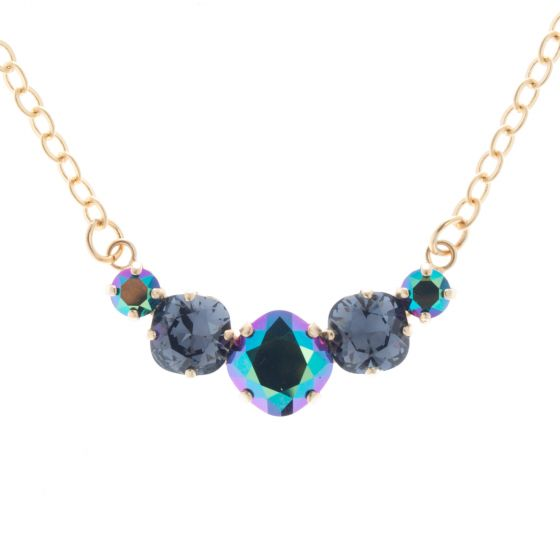 Lisa Marie Jewelry 5 Stone Crystal Necklace - Scarabaeus Green