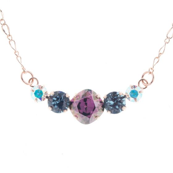 Lisa Marie Jewelry 5 Stone Crystal Necklace - Lilac Shadow