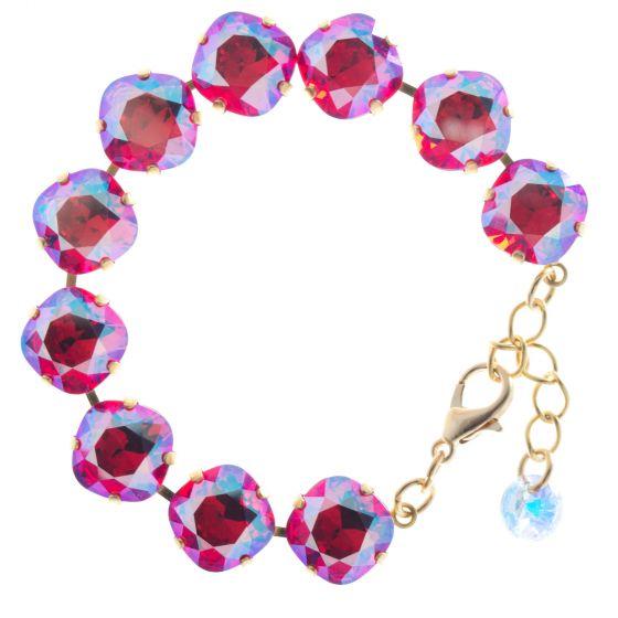Lisa Marie Jewelry 12mm Square Swarovski Crystal Bracelet - Siam Shimmer
