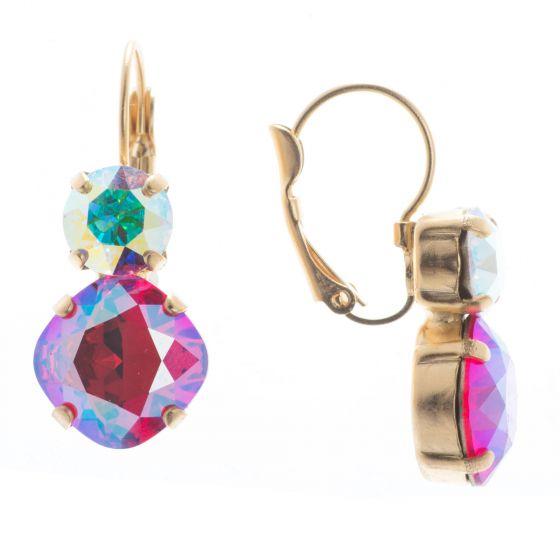 Lisa Marie Jewelry Two Stone Swarovski Crystal Earrings - Siam Shimmer