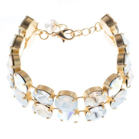 Lisa Marie Jewelry Double Row Rivoli Swarovski Crystal Bracelet