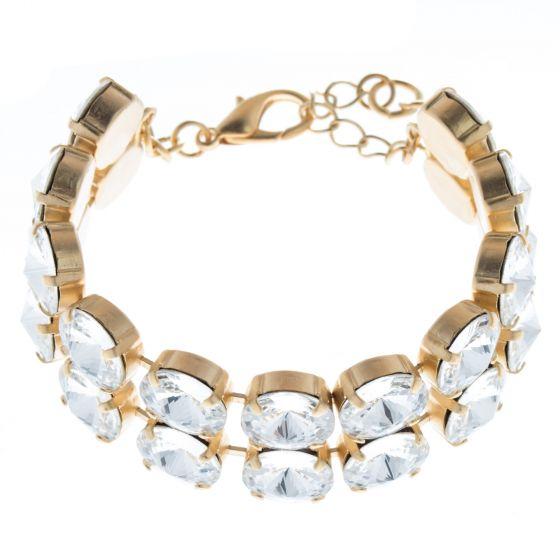 Lisa Marie Jewelry Double Row Rivoli Swarovski Crystal Bracelet - Clear