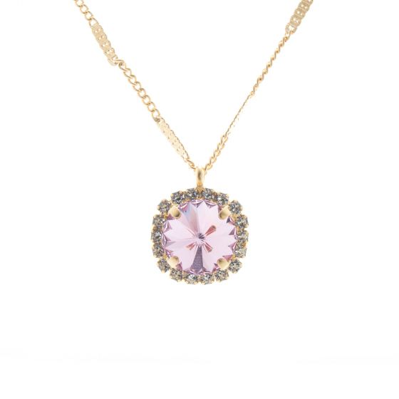 Lisa Marie Pink Rivoli Swarovski Crystal Rhinestone Necklace