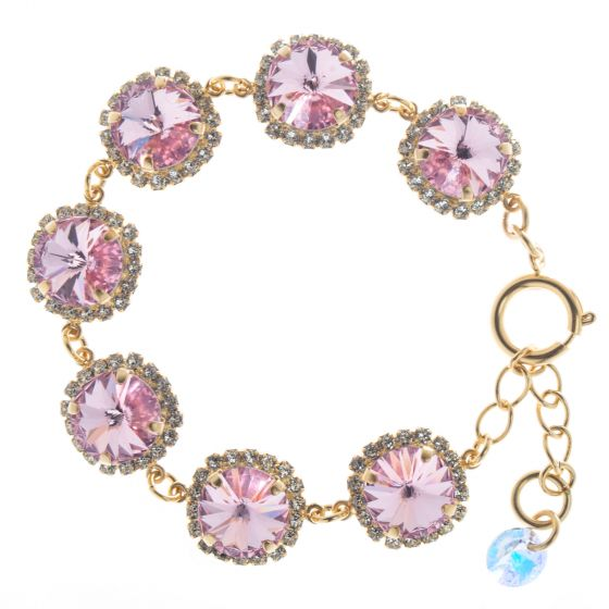 Lisa Marie Pink Rivoli Swarovski Crystal Rhinestone Bracelet