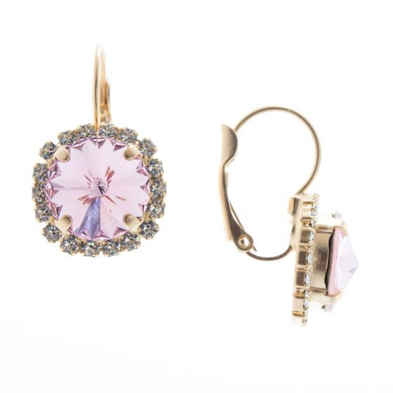 Lisa Marie Jewelry Pink Rivoli Swarovski Crystal Rhinestone Earrings
