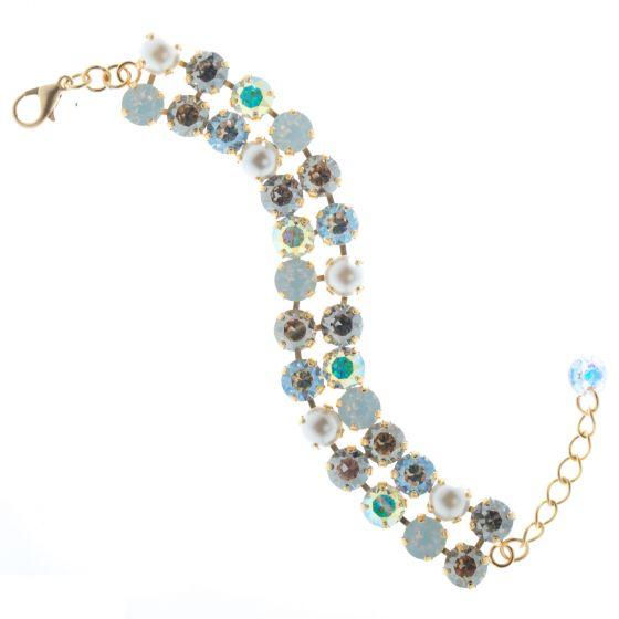 Lisa Marie Double Row Swarovski Crystal Tennis Bracelet - Pearl Combo