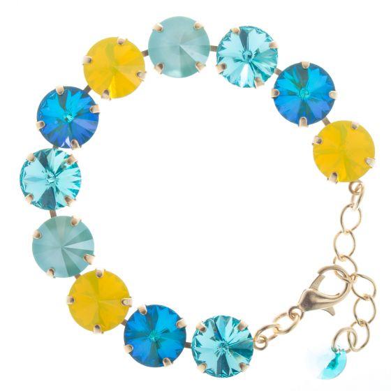 Lisa Marie Jewelry Swarovski Crystal Bracelet - Blue & Yellow Rivoli