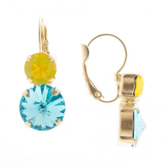 Lisa Marie Jewelry Two Stone Swarovski Crystal Earrings - Yellow & Blue