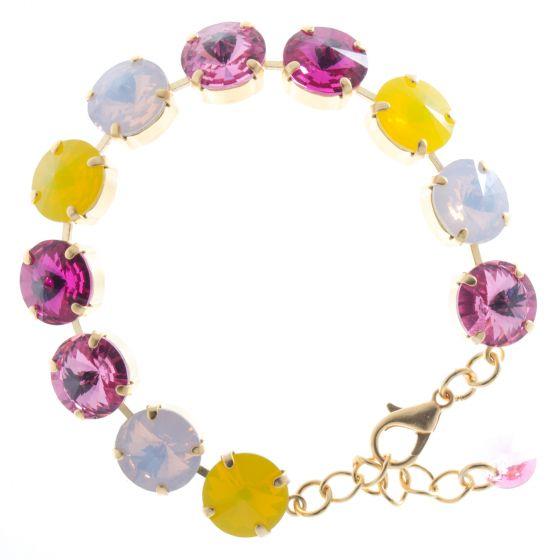 Lisa Marie Jewelry Swarovski Crystal Bracelet - Pink & Yellow Rivoli