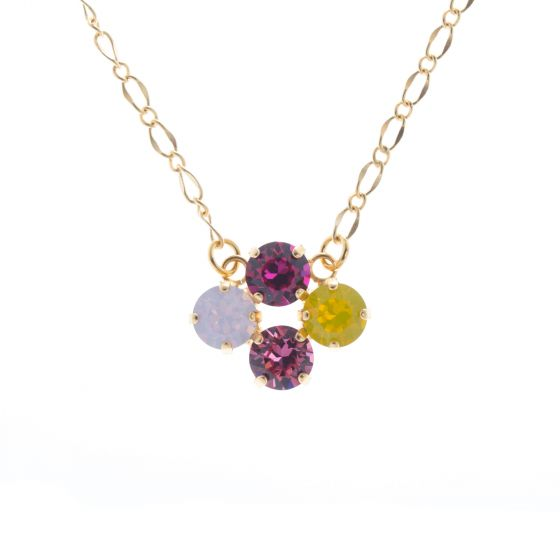 Lisa Marie Jewelry 4 Stone Swarovski Crystal Necklace - Pink Combo
