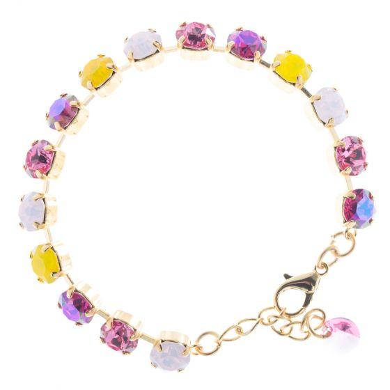 Lisa Marie Jewelry 8mm Swarovski Crystal Tennis Bracelet - Pink & Yellow