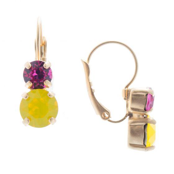 Lisa Marie Petite Two Stone Swarovski Crystal Earrings - Yellow & Pink