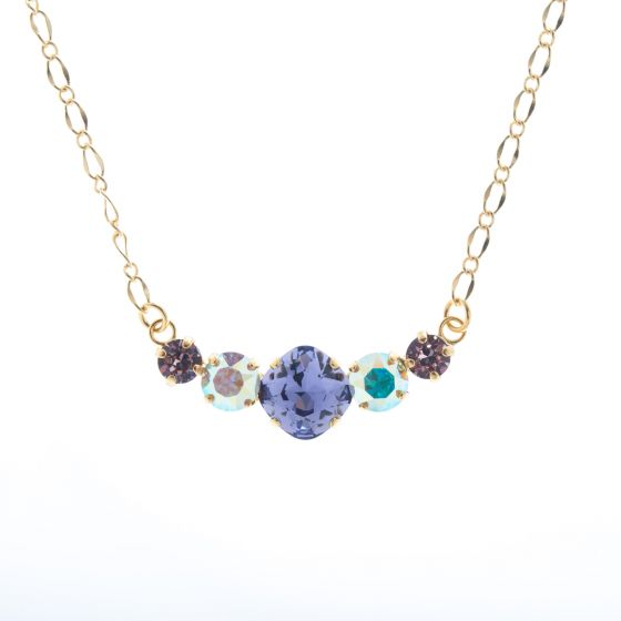 Lisa Marie Jewelry 5 Stone Crystal Necklace - Ultra Violet