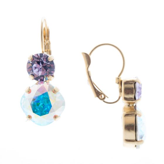 Lisa Marie Jewelry Two Stone Swarovski Crystal Earrings - Ultra Violet