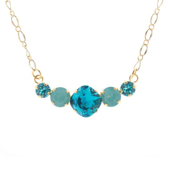 Lisa Marie Jewelry 5 Stone Swarovski Crystal Necklace - Aqua Combo