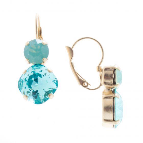 Lisa Marie Jewelry Two Stone Swarovski Crystal Earrings - Aqua Combo