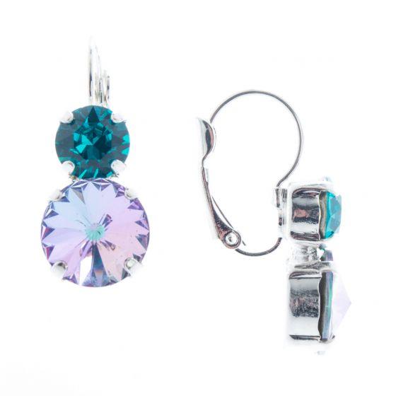 Lisa Marie Jewelry Two Stone Swarovski Crystal Earrings - Vitrail/Teal