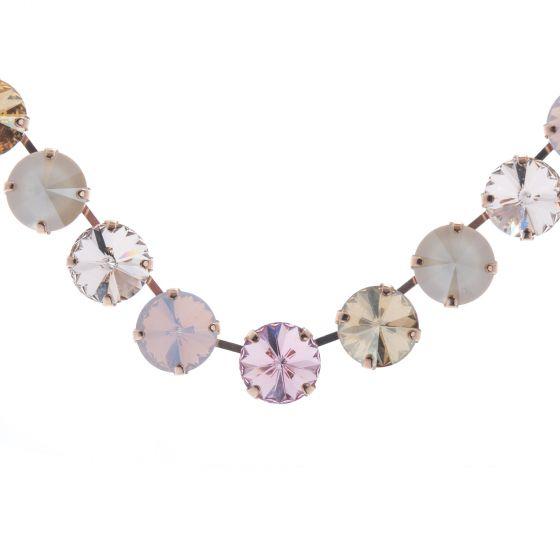 Lisa Marie Jewelry Rivoli 13 Stone Swarovski Crystal Necklace - Rose Combo