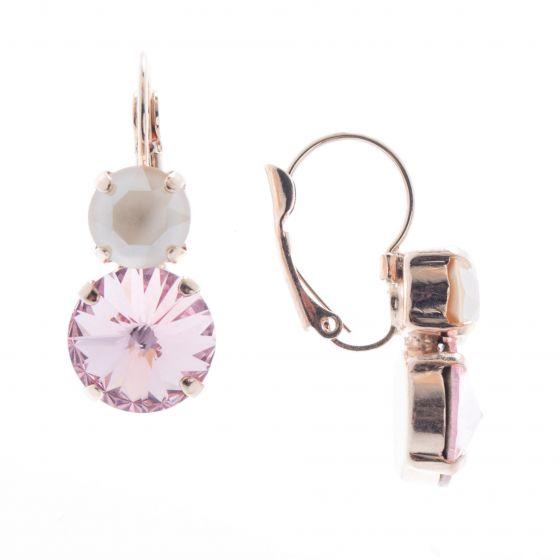 Lisa Marie Jewelry Two Stone Swarovski Crystal Earrings - Rose/Ivory