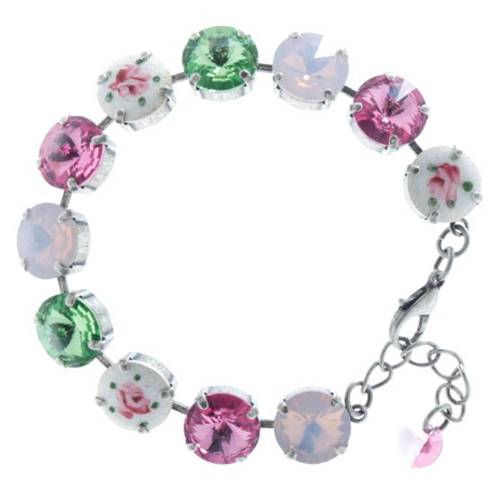 Lisa Marie Jewelry Vintage Enameled Rose Swarovski Crystal Bracelet
