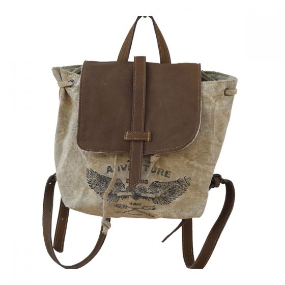 Adventure Backpack Re-purposed Canvas Tote Bag by Clea Ray