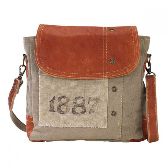 1887 Leather & Canvas Purse Shoulder Tote Bag by Clea Ray