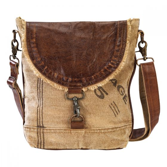 5 Pocket Leather Flap & Canvas Purse Messenger Bag by Clea Ray