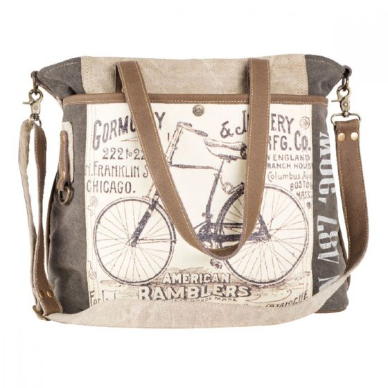 Large American Ramblers Bicycle Leather & Canvas Tote Bag by Clea Ray