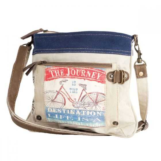 The Journey Bicycle Leather & Canvas Crossbody Purse Bag by Clea Ray