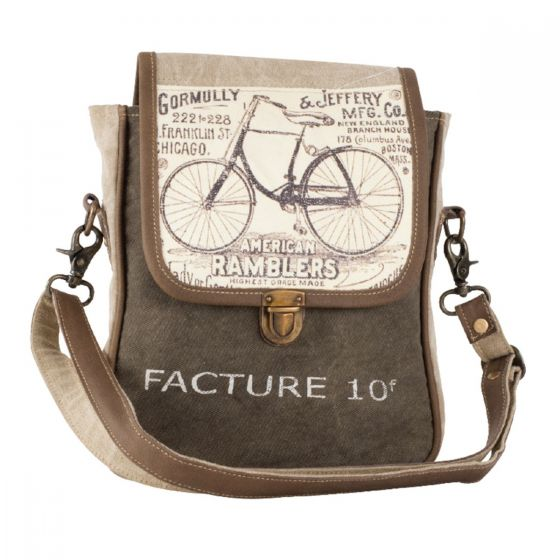 American Ramblers Bicycle Leather & Canvas Purse Messanger Bag by Clea Ray