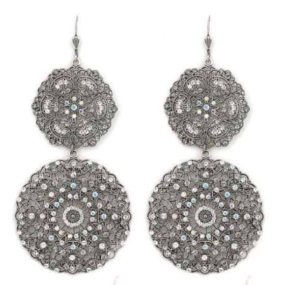 Catherine Popesco Large Round Silver Double Filigree Earrings