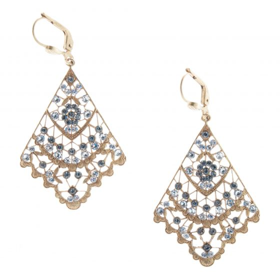 Catherine Popesco Crystal Black Diamond Filigree Fan Earrings