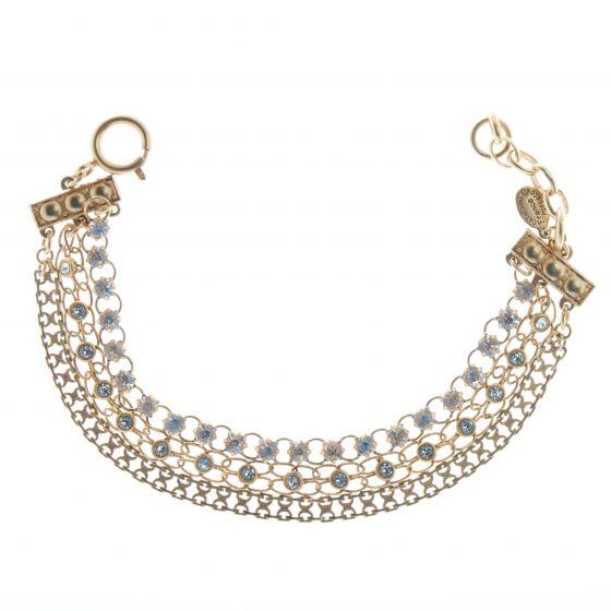Catherine Popesco Gold Triple Chain Crystal Bracelet