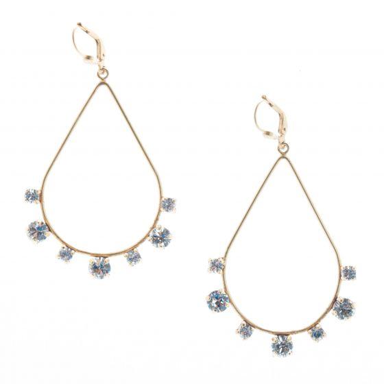 Catherine Popesco Teardrop Hoop Crystal Earrings