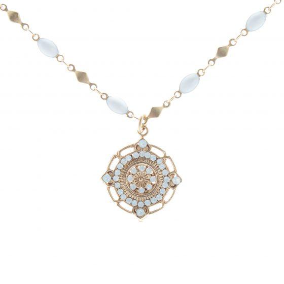 Catherine Popesco White Opal Crystal Medallion Pendant Necklace