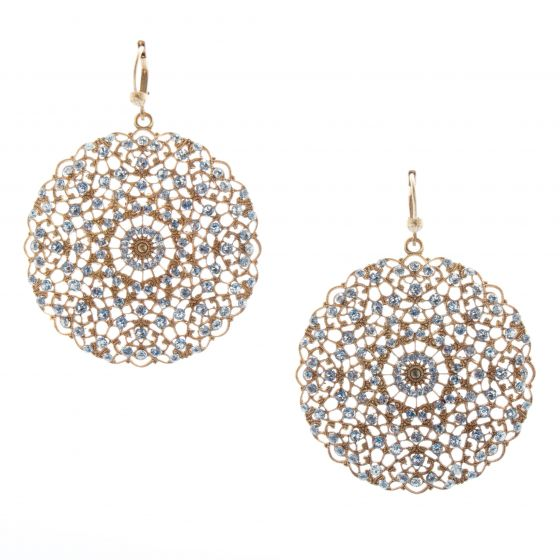 Catherine Popesco Lacy Medallion Large Round Filigree Clear Crystal Earrings