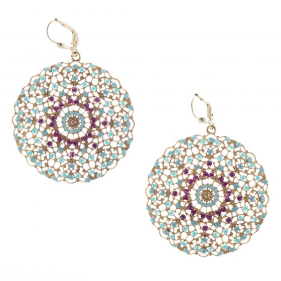 Catherine Popesco Fuchsia & Turquoise Large Round Filigree Crystal Earrings