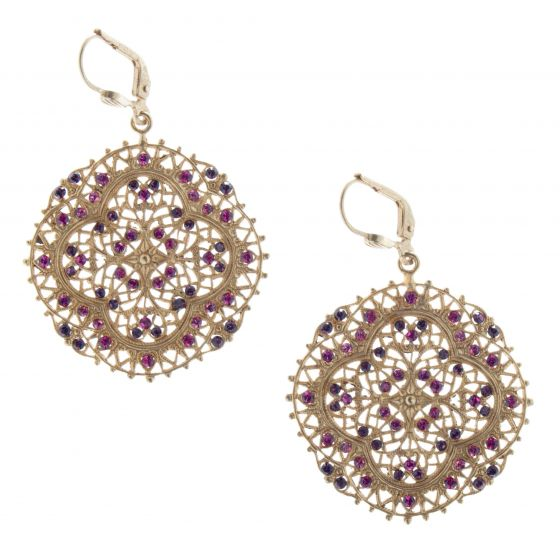 Catherine Popesco Fuchsia Rhinestone Filigree Crystal Earrings