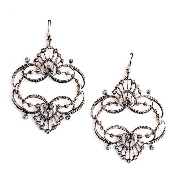 Catherine Popesco Mirrored Tiara Silver Earrings - Black Diamond or Pearl